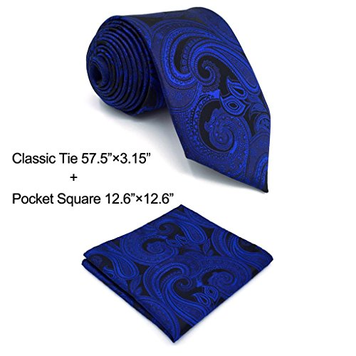 Classic Paisley Tie (Shlax&Wing Mens Necktie Paisley Dark Blue Navy Silk Tie For Men Fashion New)