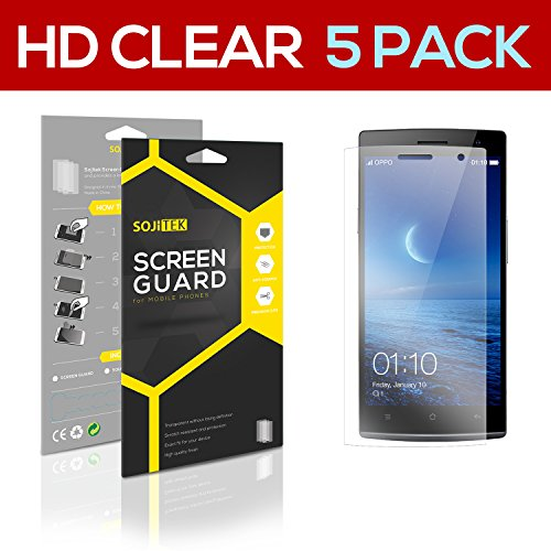 SOJITEK OPPO Find 7 / Lite / 7a Premium Ultra Crystal High Definition (HD) Clear Screen Protector [5-Pack] - Lifetime Replacements Warranty + Retail Packaging