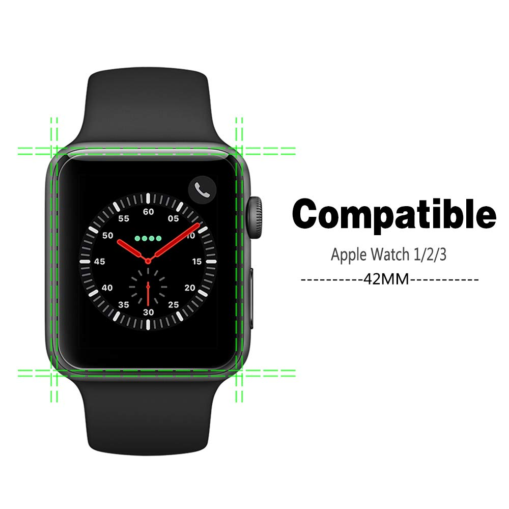 Etmury Screen Protector for Apple Watch 42mm Series 3/2/1, [6 Pack] 9H Hardness Tempered Glass Anti-Scratch Anti-Fingerprint Anti-Bubble Easy Installation, iWatch Case Only Covers Flat Area (Clear) by Etmury (Image #3)