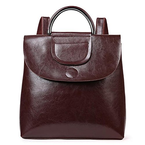 Women Bags Cowhide Cotton Backpack Zipper for Casual All Season Wine Brown Coffee Black,Coffee by YIUXB (Image #4)