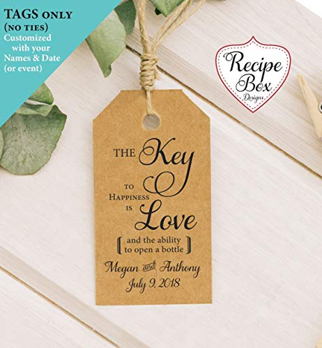Wedding Favor Tags, Key Tags, Bottle Opener Tags, Thank you tags, Key to Happiness is Love, Church Key Tags 36 Tags 2x3.5