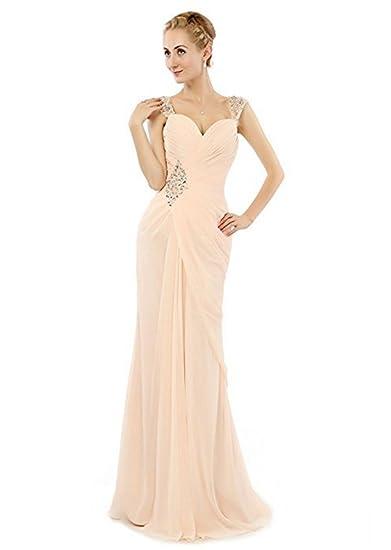 Baijinbai Womens Long Beaded Sequins Chiffon Bridesmaid Dresses Evning Cocktail Prom Gowns Champagne UK06