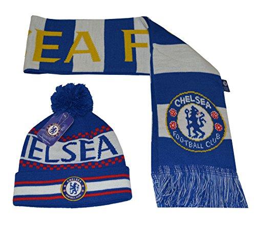 Chelsea Fc Set Beanie Pom Pom Skull Cap Hat and Scarf Reversible New Season 2015-2016 - Chelsea Scarf