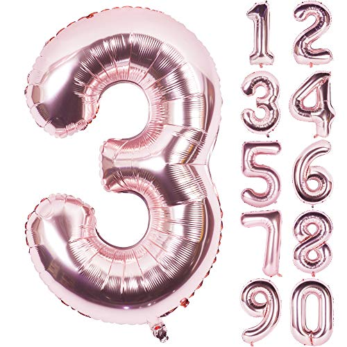 40 Inch Champagne Large Numbers 0-9 Birthday Party Decorations Rose Gold Helium Foil Mylar Big Number Balloon Digital 3