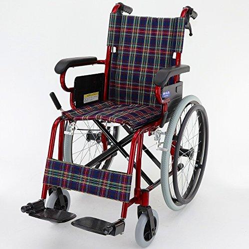 圧倒的な女性支持を集めています!ラズベリー 自走式 アルミ 車椅子 ノーパンクタイヤ コンパクト 折りたたみ式 超軽量 介助用としても!【B110-ARB】 B0081D6WZ0