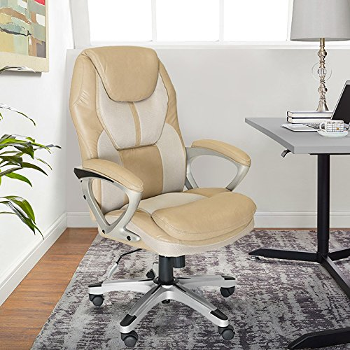 Serta Works Executive Office Chair, Faux Leather and Mesh, Cream
