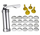 Spritz Cookie Press Gun Kit - 20 Stainless Steel Discs Biscuit Maker Set and 4 Icing Tips for Cake Decorating - High-Grade Metal Spritzer - Favorite Cookies Recipes Made Easy with a Simple Fun Tool