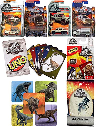 (MBX Legacy Matchbox Cars & Theme Matching Game Uno Jurassic World Collection Car Set Racer / Trucks / Haulers / Off Road with Mini Blind Bag Figure Sticker Bundle)