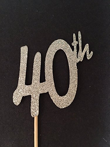 12 40th Glitter Birthday Cupcake Toppers, 40th Birthday Decorations, Glitter Cupcake Toppers, 40 and Fabulous Birthday Party, Forty Birthday Topper, Elegant (Chanel Cupcakes)