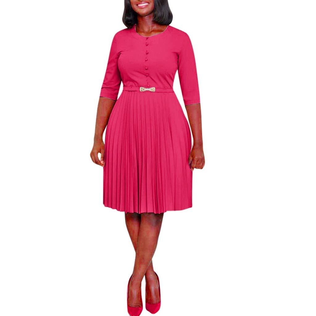 Wenini Women Fashion Round Neck Solid Half Sleeve Dress High Waist Knee Length Party Dress by Wenini