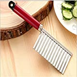 Iuhan Potato Wavy Edged Tool Stainless Steel Kitchen Gadget Vegetable Fruit Cutting (Red)