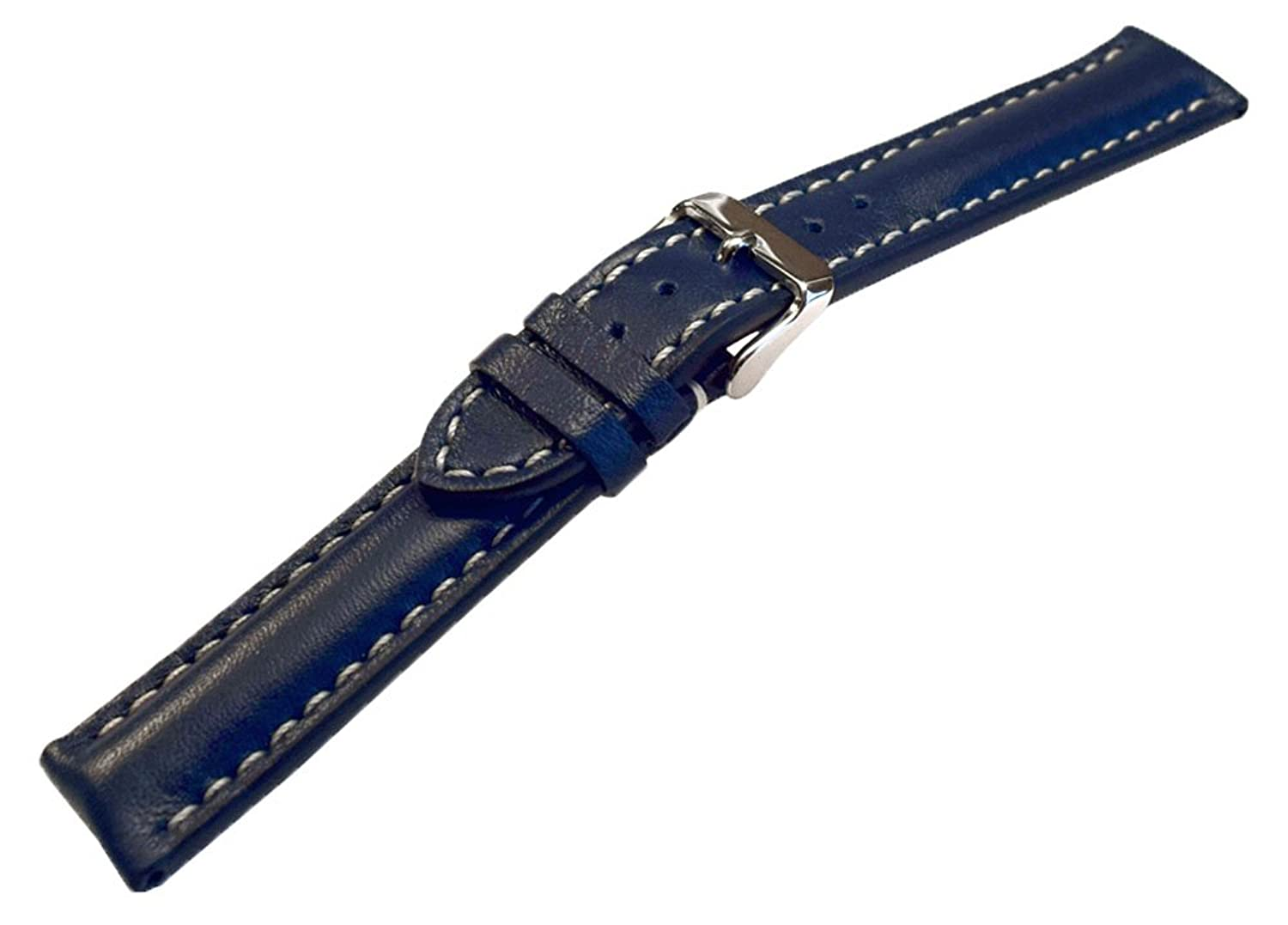 20 mmブルーHeavy Calfskin Leather Watch Band withホワイトステッチ  B0711GY724