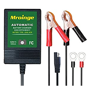 Mroinge (MBC010) 12V/1A Smart Battery Charger / Maintainer, big alligator clip and 12ft output cord