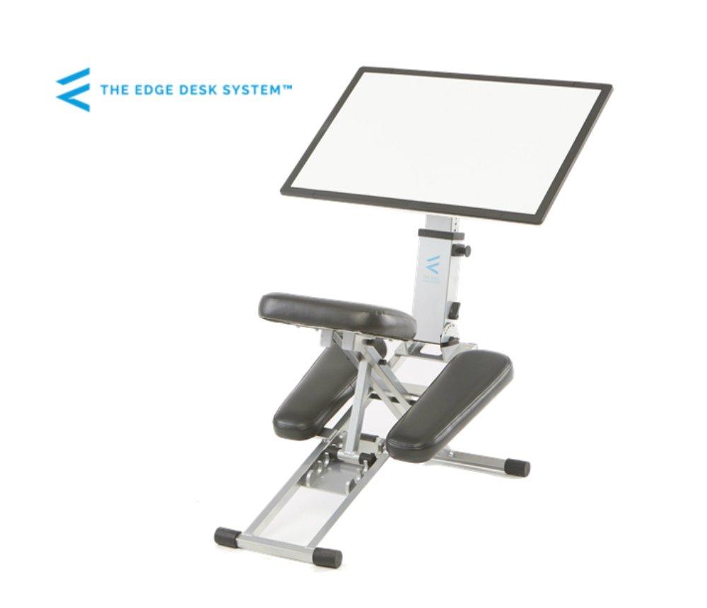 THE EDGE DESK SYSTEM Ergonomic Adjustable Kneeling Desk and Combination Chair Mobile Work Surface