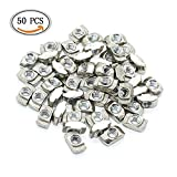 IDS 50 Pieces European Standard 20 Series Aluminum Slot Carbon Steel Half Round Roll In Sliding T Slot Nut with M4 Thread