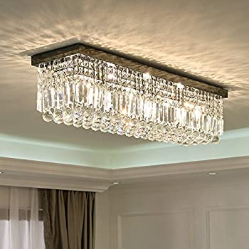 Siljoy L40quot; Rectangular Raindrop Crystal Chandelier Lighting Modern Flush Mount Ceiling Light
