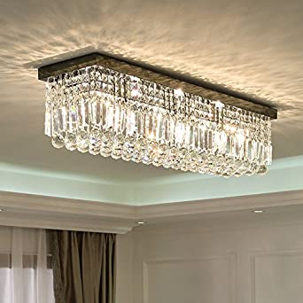 Siljoy l40 rectangular raindrop crystal chandelier lighting modern siljoy l40 rectangular raindrop crystal chandelier lighting modern flush mount ceiling light fixture amazon mozeypictures Image collections