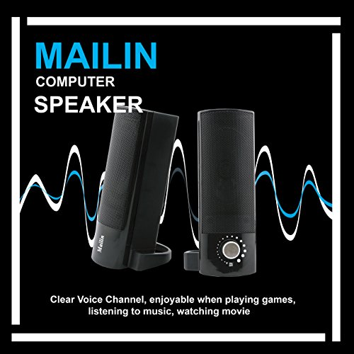 Mailin Detachable Computer Speaker, PC Speaker, Soundbar, Laptop Speaker, USB Power Supply 3.5mm Stereo Input, 5 Watts RMS Total Power with Volume Control (Black) by Mailin (Image #6)'
