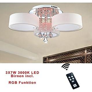 Style HomeR 21W RGB Kristal LED Deckenlampe Deckenleuchte 6103 3 Flammig7W Warmweiss Birnen