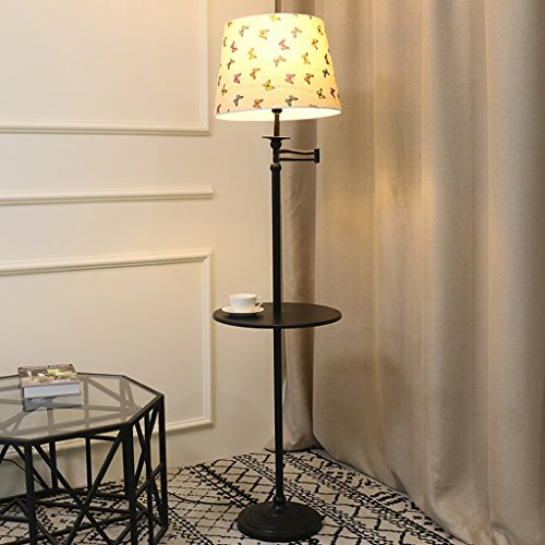 Coffee Table Floor Lamp ,interior Lighting Floor Light, Creative Living Room LED Remote Control Racks Shelves Vertical Bedroom Bedside Lamp 9W Light Bulb Black ( Color : Pattern color )