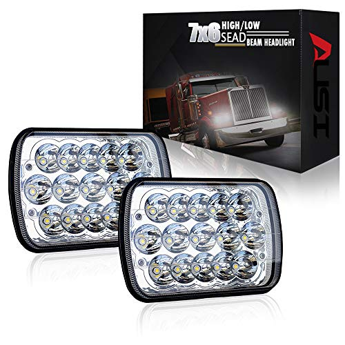 AUSI Rectangle H6054 Led Headlights 5x7 7x6 Headlamp Hi/Low Sealed Beam for Chevy S10 Blazer Express Van H4 9003 Plug 6054 H5054 For Jeep Wrangler YJ XJ Cherokee Truck Ford Van DOT Approved