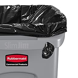 Rubbermaid Commercial Slim Jim Receptacle with Venting Channels, Rectangular, Plastic, 23 Gallons, Gray (FG354060GRAY)