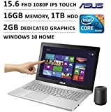 Asus 15.6-inch FHD 1080P Touchscreen Gaming Laptop (Intel Quad Core i7 Processor, 16GB DDR3L RAM, 1TB HDD, 2GB GTX 950M Graphics, Windows 10)