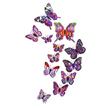 OXOQO 12 Pcs 3D Butterfly Sticker Fridge Magnet Art Design Decal Wall Stickers Refrigerator Magnets Wedding Party Home Decor