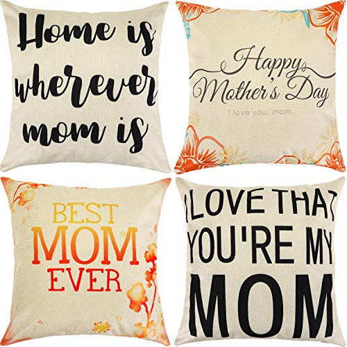 Chinco 4 Pieces Mother's Day Pillow Case Throw Cushion Cover Decorative Pillow Cover for Mother's Day Birthday Party Supplies, 18 x 18 Inches (Style Set 2)