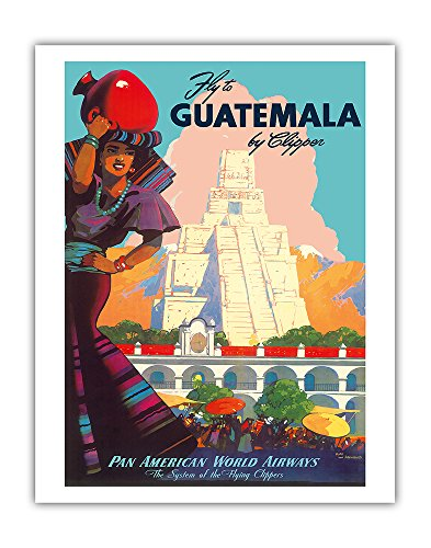 (Guatemala by Clipper - Pan American World Airways - Tikal Mayan PAN AM - Vintage Airline Travel Poster by Mark Von Arenburg c.1949 - Fine Art Print - 11in x 14in )