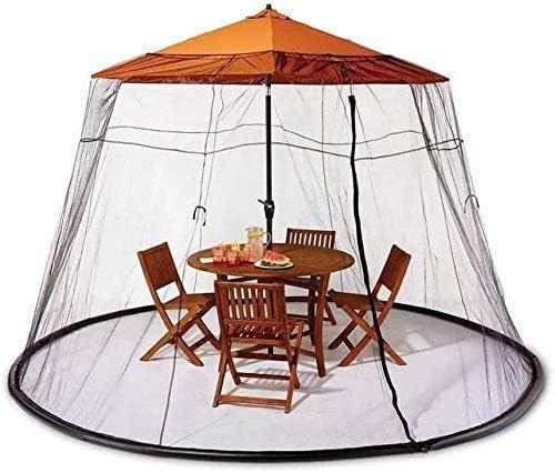 パラソル用HYLH蚊帳、屋外傘テーブルスクリーンキャンプパティオ傘スクリーン傘蚊帳テント付き屋外パティオネットガーデンパーティーチャット用キャノピーメッシュ