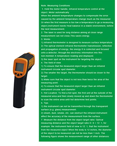 Infrared Thermometer IR Laser Thermometer Non-Contact Digital Temperature Gun -32°C~380°C (-26°F~608°F) Instant Read with Auto Shut-off Data Hold Function, LCD Backlight Display, Battery Included. by Junboys (Image #6)