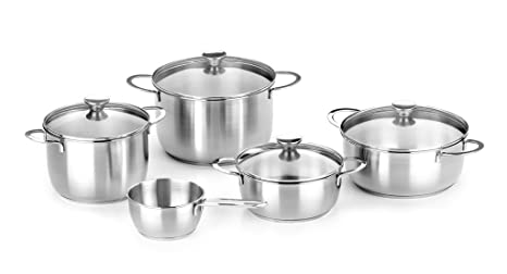 BRA Ancora - Menaje de 5 piezas, acero inoxidable 18/10, apta para todo tipo de cocinas incluida inducción.
