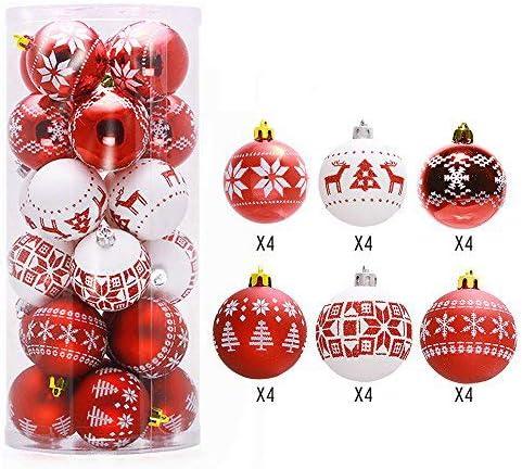 Lnkey 24 Bolas de Navidad blanco y rojo, Inastillable decoración ...