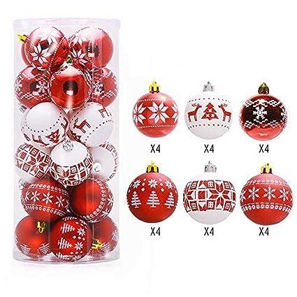 Lnkey 24 Bolas de Navidad blanco y rojo, Inastillable decoración exquisita boda Fiesta Navidad bolas