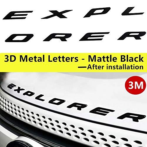 - 2011-2017 3D Metal (not Plastic) Fit for Ford Explorer Sport Chrome Black Front Hood Emblem Letters Badge Deca(Matte black)