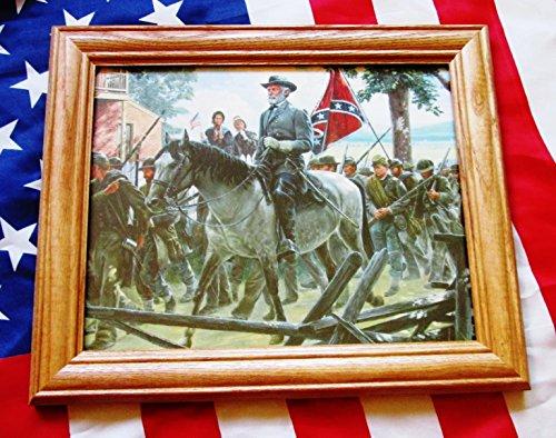 Framed Civil War Painting. Mort Kunstler, General Robert E Lee, Gettysburg 1863 - Paintings War Civil