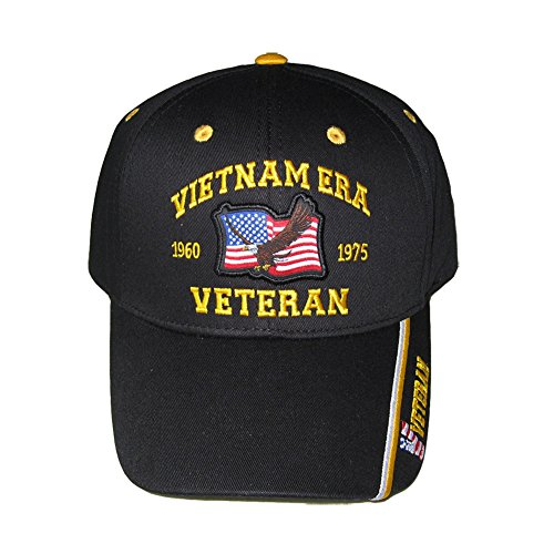 - Vietnam Era Veteran 1960-1975 Eagle with Flag Baseball Cap. Black, Adjustable