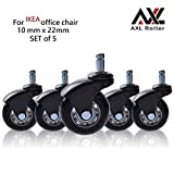 AXL 2.5'' Office Chair Caster Wheel Replacement for IKEA Rollerblade Wheels Heavy Duty Casters for Hardwood Floors Safe, Set of 5 (AR-iK-0250006B-GRYB)