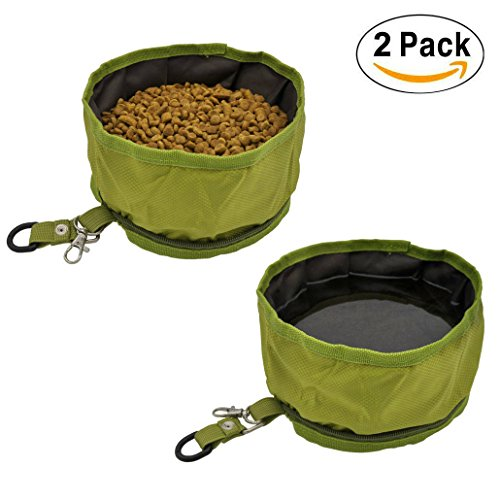 AYADA Pet Dog Collapsible Travel Bowls Oxford Fabric Waterproof Portable Foldable Food Water Bowl with Zipper (Set of 2) - Green by AYADA