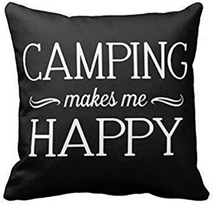 """Aremazing Inspirational Quotes Super Soft Home Office Decor Throw Pillow Case Cushion Cover with Words for Couch Sofa Bed Chair 18"""" x 18"""" (Camping Makes me Happy)"""