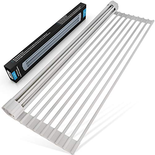 Out Racks - Zulay Multipurpose Roll Up Sink Drying Rack & Trivet - Silicone-Coated Stainless Steel Roll Up Rack, Rolls Out Over any Sink or Counter - Sturdy, Versatile, Heat Resistant, Roll Up Dish Drying Rack