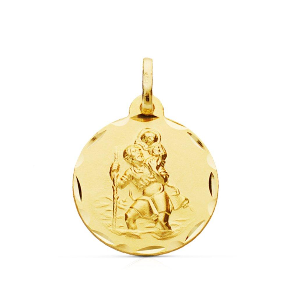 Médaille Saint Christophe (Saint Christophe Medal) 18mm en or jaune de 9 ct Alda Joyeros 2315