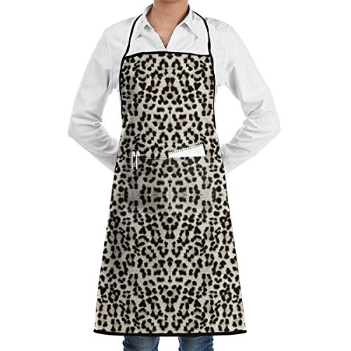 LLuotryce Professional Grade Unisex Chef Apron for Kitchen with Tool Pockets Snow Leopard Bigger Better Apron Kitchen Cooking/BBQ, Adjustable Bib Apron -