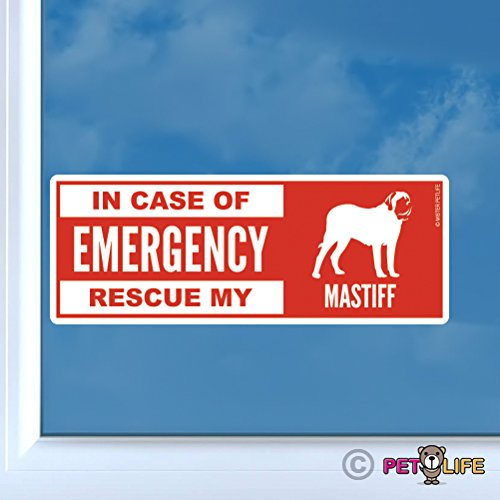 (In Case of Emergency Rescue My Mastiff Sticker Vinyl Auto Window dog safety english)