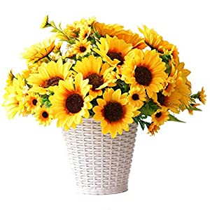 UUPP 2 Bunches Artificial Sunflowers Fake Silk Flower Bouquet Artificial Flowers for Home Wedding Office Party Decor, 11.8'' 85