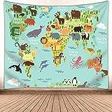 Kids Educational Animal Landmarks World Map Blue Tapestry, Wall Home Decor Art for Nursery, 60x50
