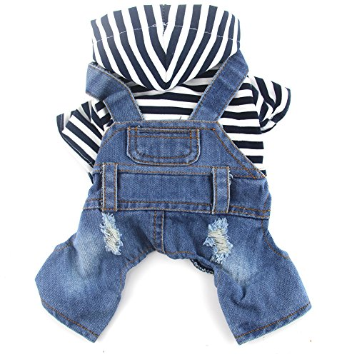 Hooded Dog Jumpsuit - DOGGYZSTYLE Pet Dog Cat Clothes Blue Striped Jeans Jumpsuits One-Piece Jacket Costumes Apparel Hooded Hoodie Coats for Small Puppy Medium Dogs (XXL, Blue)