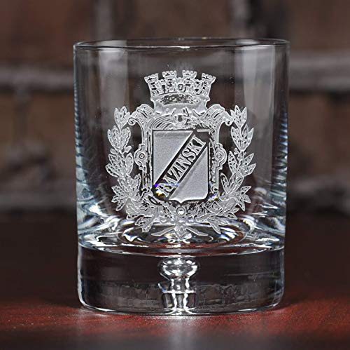 - Engraved Coat of Arms, Family Crest Crystal Rocks Whiskey, Scotch, Bourbon Glass SET OF 4 (crest)