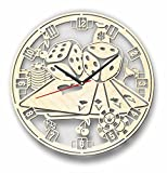 7ArtsStudio Poker Wall Clock Made of WOOD - Perfect and Beautifully Cut - Decorate your Home with MODERN ART - UNIQUE GIFT for Him and Her - Size 12 Inches
